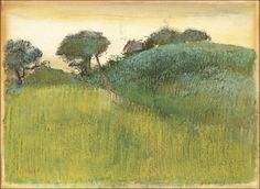 Wheat Field and Green Hill,c. 1890-1892-Edgar Degas (by BoFransson)