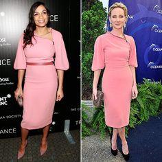 ROSARIO VS. ANNE  Rosario Dawson se puso este vestido color rosa palo para la presentación en Nueva York de su filme Trance, el pasado mes d...