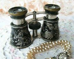 Black Opera Glasses with birds.