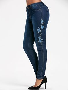 High Waisted Floral Embroidered Skinny Jeans - BLUE S-2XL Euro 18,40