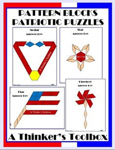 Pattern Blocks Patriotic Puzzles by A Thinker's Toolbox includes 4 Patriotic Puzzles; a flag, star, medal, and pinwheel.