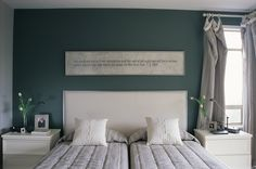 Inspired Inscriptions - Cool Bedroom Ideas - Zimbio - I like the paint on this accent wall...