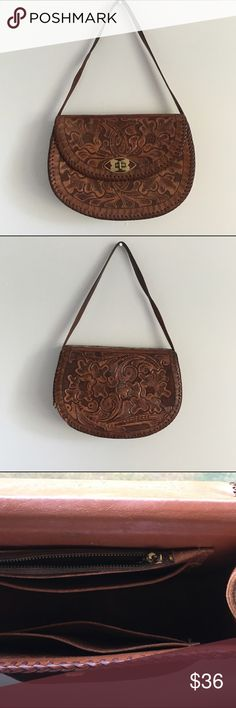 Vintage Hand Tooled Leather Handbag This is a gorgeous hand tooled vintage leather purse. It's in great condition and has beautiful detail. Bags Mini Bags