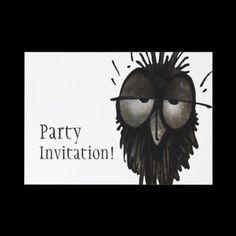 Sleepy Owl Personalized Invitation from StrangeStore by Paul Stickland #owls #strangestore