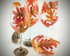 4 Fall Leaf Hand Painted Wine Glasses Autumn Colors Red Orange Yellow Thanksgiving Wine Glass Set of Four Oak Leaves