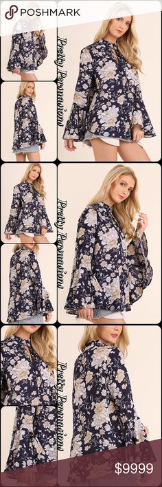 NWT Black Floral Print Bell Sleeve Blouse Description Coming Soon • S, M, L Pretty Persuasions Tops