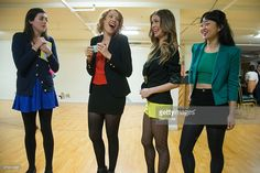 Actress Elle McLemore, Jessica Keenan Wynn, Alice Lee and Barrett Wilbert Weed attend the 'Heathers: The Musical' press preview at The Snapple Theater Center on February 19, 2014 in New York City.