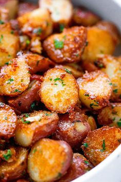 Roasted Garlic Butter Parmesan Potatoes Recipe - - These epic roasted potatoes with garlic butter parmesan are perfect side for your meal! - by Potato Recipes Roasted Garlic Butter Parmesan Potatoes Potato Dishes, Vegetable Dishes, Food Dishes, Potato Meals, Food Food, Food Platters, Food Prep, Potato Food, Potato Snacks