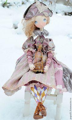 Купить Коллекционная кукла Катрин - сиреневый, коломбина, коллекционная кукла, авторская кукла, текстильная кукла