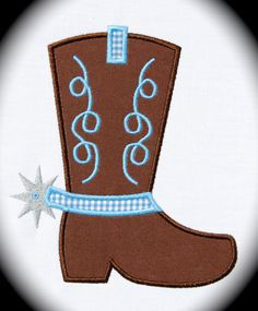 Cowboy Boot Spur Applique Machine by trendystitchdesigns on Etsy