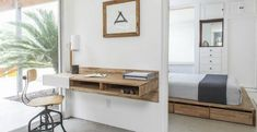 Buy LAX Wall Mounted Desk from MASH Studios. Perfect for small spaces, the LAXseries Wall Mounted Desk attaches to the wall and makes legs seem like po. Canapé Design, Interior Design, Small Apartments, Small Spaces, Floating Wall Desk, Desk Shelves, Shelf, Wood Shelves, Wall Mounted Desk