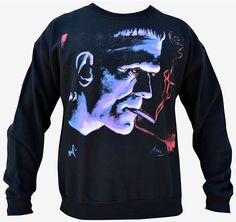 Franky - Sweatshirt.  By Artist Mike Bell  Men's Crew Neck Sweatshirt Premium 100% cotton fabric with a soft design touch and quality printing techniques.   #goth #gothic #punk #punkrock #rockabilly #psychobilly #pinup #inked #alternative #alternativefashion #fashion #altstyle #altfashion #clothing #clothes #vintage #noir #infectiousthreads #horrorpunk #horror #steampunk #zombies #burningman #tattoos #lowbrowart