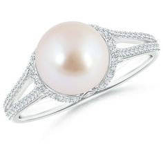 Twin Shank Akoya Cultured Pearl and Diamond Cradle Ring (5.095 BRL) ❤ liked on Polyvore featuring jewelry, rings, 14k ring, 14k diamond ring, studded jewelry, diamond rings and fresh water pearl jewelry