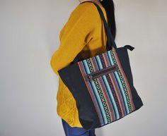 bba0729889 Mato Boho Tote Bag Canvas Top Handle Shoulder Handbag Tribal Aztec Pattern  Black