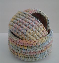 Crocheted Nesting Baskets Set of 3 100% Cotton by MeeklyCotton #crochetbaskets