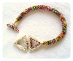 Peyote Triangle Bracelet Bead Crochet Rope by BeadworkAndCoe Rope Jewelry, Beaded Jewelry, Beaded Bracelets, Bead Crochet Rope, Christmas Jewelry, Beads And Wire, Bead Weaving, Creations, Bracelets