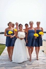 Blue Bridesmaids  Dresses with Yellow Flowers