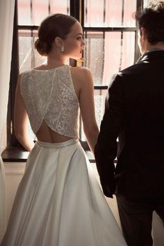 open back two piece bridal gown - rehearsal dress