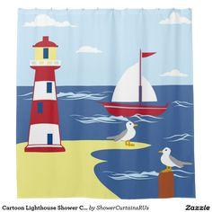 Cartoon Lighthouse Shower Curtain - such perfect bathroom decor for a bath used by children! Bathroom Mirror Design, Boho Bathroom, Bathroom Art, Nautical Bath, Gray Vanity, Cute Cartoon Girl, Art Lessons Elementary, Marker Art, Bath Decor