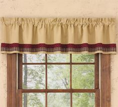 My Country Home Lined Border Curtain Valance 72 x 14 Country Style, Farmhouse Style, Line Border, Window Cornices, Valances & Cornices, Valance Patterns, Parking Design, Country Curtains, Valance Curtains
