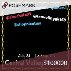 Want to see your name here? CENTRAL VALLEY, CA MEET UP!!!! July 31 in Lathrop, CA. More details to come very soon!   If you are interested in adding your name to our list of sponsors by donating items to our swag bags, please leave a comment here and I will get back to you ASAP! Meet Up Other