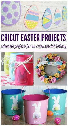 Sweet Easter Projects you can do with your Cricut Cutting Machine. gifts cricut Sweet DIY Cricut Easter Projects - Juggling Act Mama Spring Projects, Easter Projects, Spring Crafts, Craft Projects, Craft Ideas, Easter Ideas, Easter Decor, Easter Crafts For Adults, Crafts For Teens