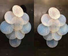 Excited to share this item from my #etsy shop: Murano Sconces, Crystal Wall Lights, Original Vistosi Sconces, Set of Two Large Powder Blue Sconces, Midcentury Sconces, Free Shipping USA