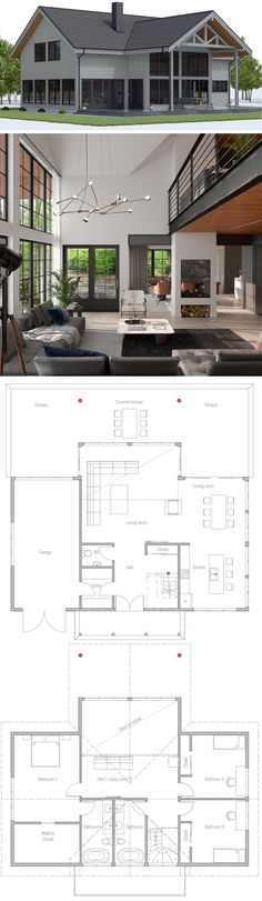 Beach House Plans, Dream House Plans, House Floor Plans, Bungalow Homes, Bungalow House Plans, Modern Small House Design, Home Design Plans, House Layouts, Bungalows