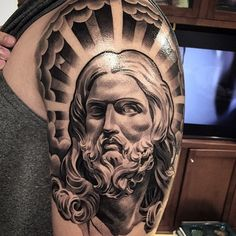 "3,765 Likes, 138 Comments - @lilbtattoo on Instagram: ""A look back at this Jesus piece I've done earlier this year in California #THESHOW #lilBtattoo…"""