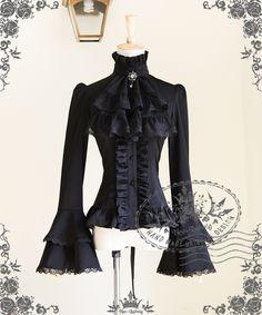 fanplusfriend - Whale Bones Bay Gothic Pirate Lolita Wide Double Layer Cuffs Blouse