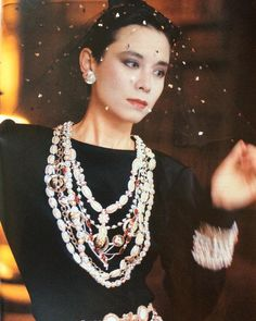 Pamela Hanson photograph of Tina Chow in Chanel for the April #1983 issue of Tatler magazine.  Silk crepe dress with #fabric by #Bianchini and embroidery by #lesage, #karllagerfeld for #chanelhautecouture. #makeup by #chanel. Hot Coco #feature written by #michaelroberts  #pamelahanson #photography #fashion #fashionphotography #1980s #tinachow #socialite #magazines #print #tatlermagazine @pamela_hanson @glenn_wassall @chanelofficial @tatleruk