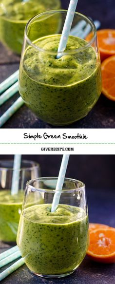 Simple Green Smoothie is a detox for your body. This is as yummy as your kids' favorite smoothies. | http://giverecipe.com | #smoothie #avocado