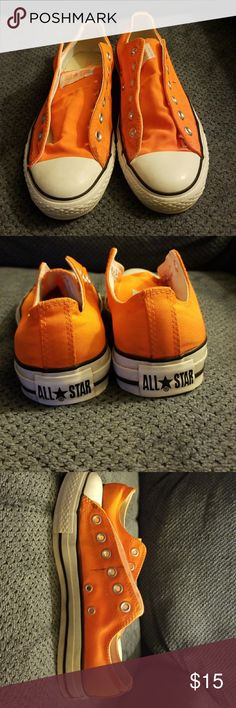 Orange Converse Worn a few times. Minor black mark on side. Converse Shoes Sneakers