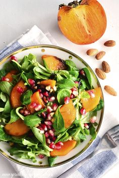 Lambs Lettuce, Persimmon Salad with Pepita Dressing