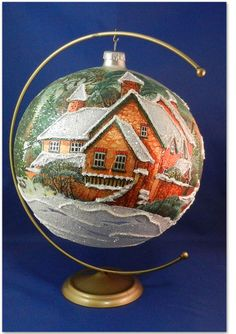 "Glass ball 8"" hand painted village winter snow scene Christmas Ornament 029009s #GlassOrnaments"