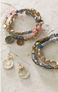 set of two semiprecious bracelets, set of two beaded bracelets & coin earrings