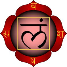 Muladhara is one of the seven primary chakras according to Hindu tantrism. It may be represented by the color red, although its root square form is usually yellow.  Muladhara chakra is shown as having four petals, bearing the Sanskrit letters va, scha, sha, and sa. The seed sound in the center is lam. The tattwa of Earth is shown (here in outline) as a yellow square