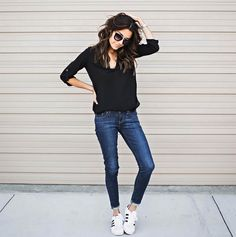 Black Top, Denim Skinnies, & Classic Adidas