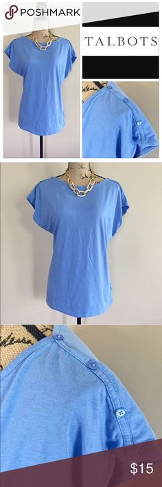 "Talbots button accent tee Sky blue tee from Talbots. Boat neck, cap sleeve, straight hem. Shoulder trim with buttons detail. Size L. EUC. 60% cotton 40% modal. Machine wash. Approx measurements, bust 22 1/2"", length 26"".  🛍 Talbots Tops Tees - Short Sleeve"