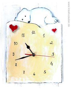 Uhr basteln ★ inklusive Anleitung, Rohling aus Holz, Herzen, Uhrwerk und Zeiger ★ als Wanduhr oder Standuhr ★ Uhrenbasteln im Shop www.kreativzauber.de