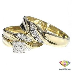 Diamond Trio Set & Yellow Gold Matching Engagement Ring Wedding Band His And Her