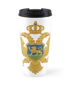 'Coat of arms of Montenegro' Travel Mug by ArgosDesigns Montenegro Flag, Montenegro Travel, Coat Of Arms, Wall Tapestry, Decorative Throw Pillows, Travel Mug, Iphone Cases, Ceramics, Mugs