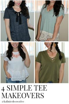 4 easy refashions to spruce up a basic tee! Each take under 20 minutes to complete! www.kalinicolecreative.blogspot.com