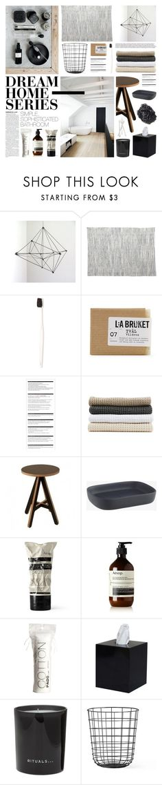 """Dream Home Series: Bathroom"" by emmy ❤ liked on Polyvore featuring interior, interiors, interior design, home, home decor, interior decorating, John Robshaw, Morihata, Club Monaco and Arche"