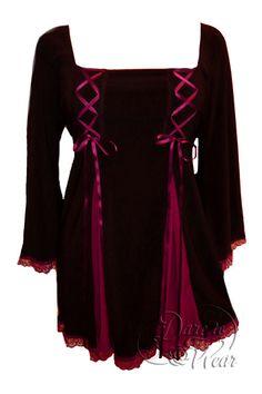 Gemini Princess Top in Black/Burgundy