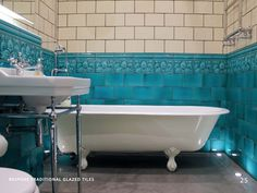 Period Embossed Victorian Tiles - Our range of modern ceramic wall tiles offers a choice of colours including a series of elegant cornices and mouldings. Victorian Tiles, Antique Tiles, Bad Inspiration, Bathroom Inspiration, Bathroom Ideas, Downstairs Bathroom, White Bathroom, Edwardian Bathroom, Victorian
