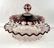 Rare Antique Victorian 1885 Ruby Stain Engraved EAPG Butter Dish O'Hara's Diamond