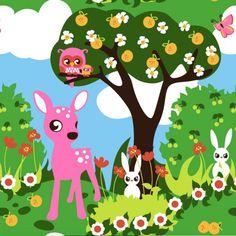 Bambi. Stofbreedte 160cm,groottebambi 9cm. Biologische tricot van Znokdesign uit Zweden