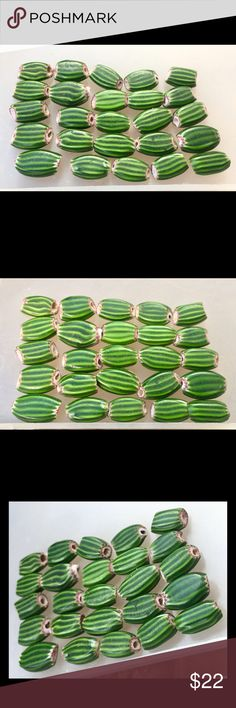 Vintage Watermelon Chevron Beads Vintage Watermelon Striped Venetian Glass Loose Beads One lot of 25 beads Jewelry Necklaces