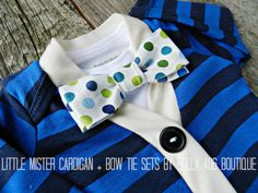Little Boy's Cardigan Set | Boy's Clothing  |  Bow Tie Onesie  |  Cute boy outfits  |  Baby shower gifts